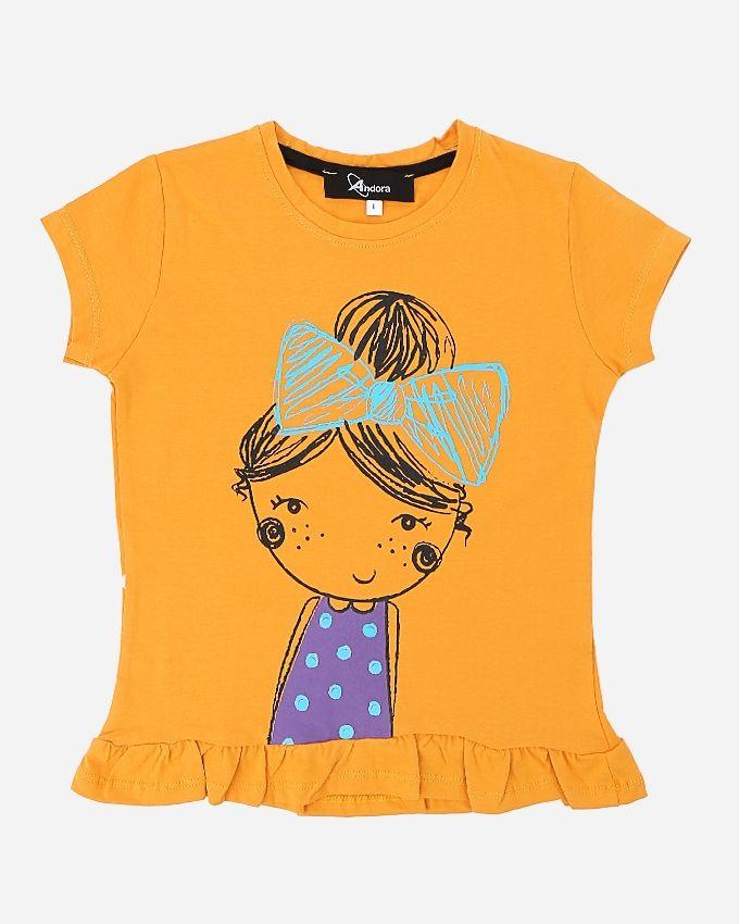 Andora Girls Printed T-Shirt - Orange
