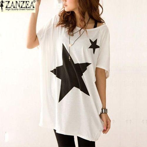 8fd47e94947 ZANZEA ZANZEA Summer Blusas Women Blouse Casual Loose Long Tops Batwing Short  Sleeve Star Print Tees T-Shirts (White)