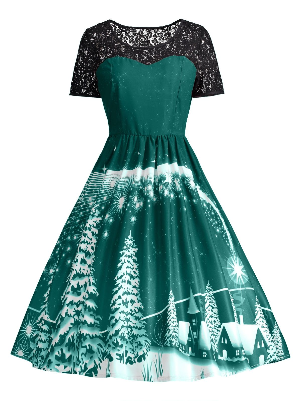 DRESSFO Women Ugly Christmas Party Lace Panel Vintage Dress - Red ...