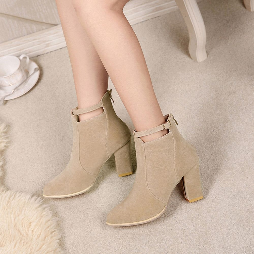 d88afb1002 Buy Fashion Blicool Shoes Women Buckle Ladies Belt Faux Warm Boots Ankle  Boots High Heels Martin