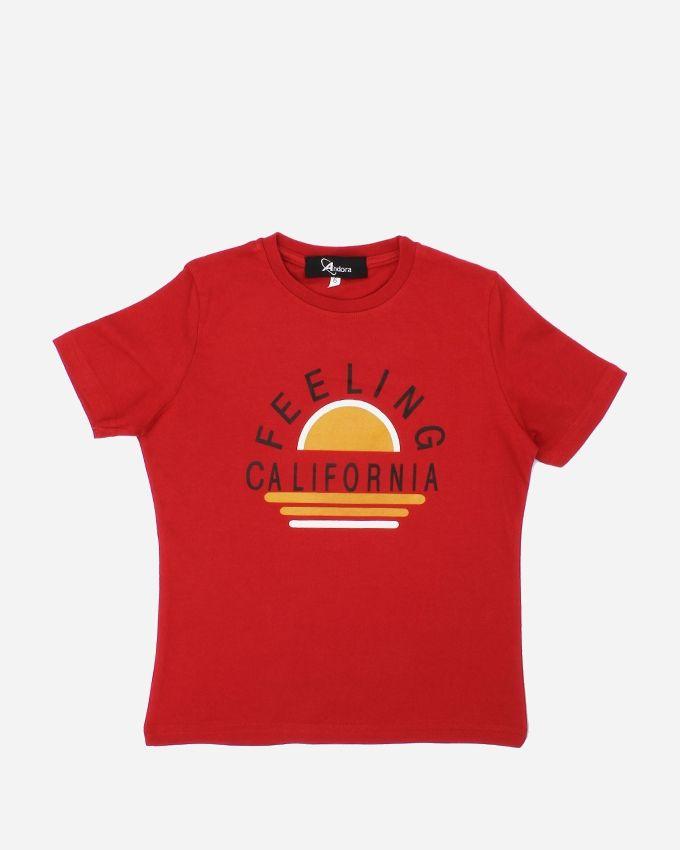 "Andora ""FEELING'' Printed T-Shirt - Red"