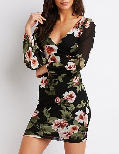 0acee162d9c Charlotte Russe Floral Mesh Bodycon Dress Price in Egypt