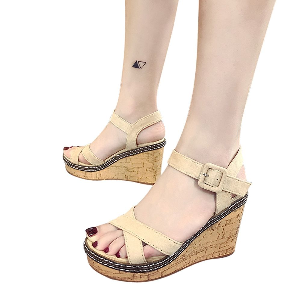 b8085553e1c Generic Tectores Fashion Trend Women Fish Mouth Platform High Heels Wedge  Sandals Buckle Slope Sandals