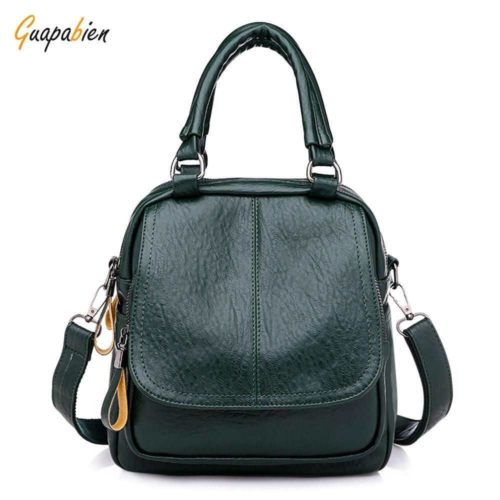 de8461517884 Buy Guapabien Women Backpack Soft PU Leather Girls Female Solid Color  Travel Bag in Egypt