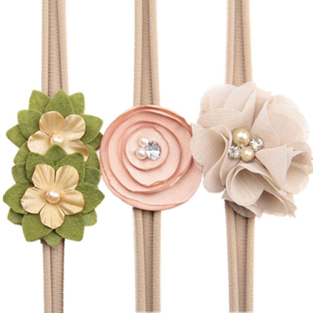 572b648313e No Brand Baby Girl Toddler Headband High Elastic Nylon Flower Design Little  Girls Party Hair Delicate Band Color Khaki