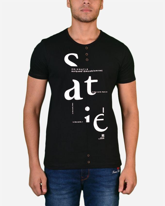 Town Team Chest Logo V Tshirt - Black