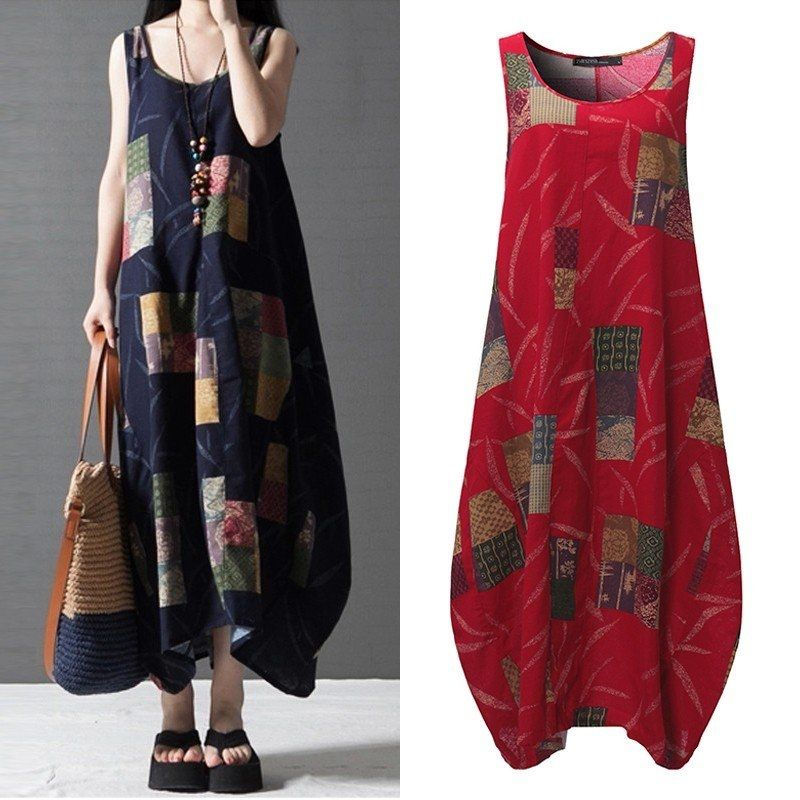 ZANZEA ZANZEA Vestidos Summer Women Vintage Print Dress O Neck ... 5360d0db5