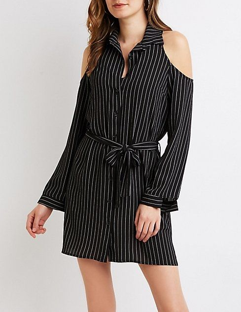 98791806d41 Charlotte Russe Striped Button-Up Cold Shoulder Shirt Dress Price in ...