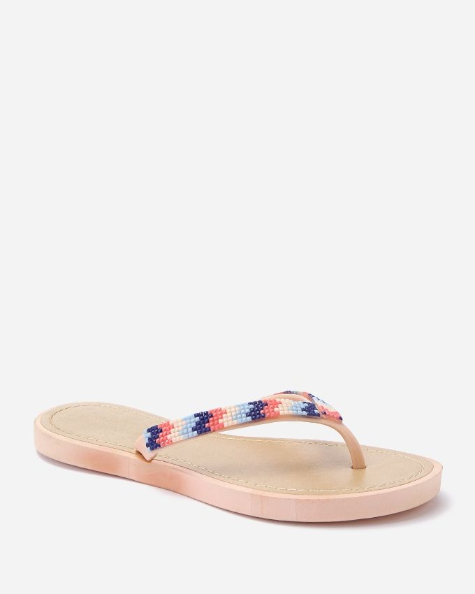 Spring Decorated Strass Toe Thong Slipper - Light Beige