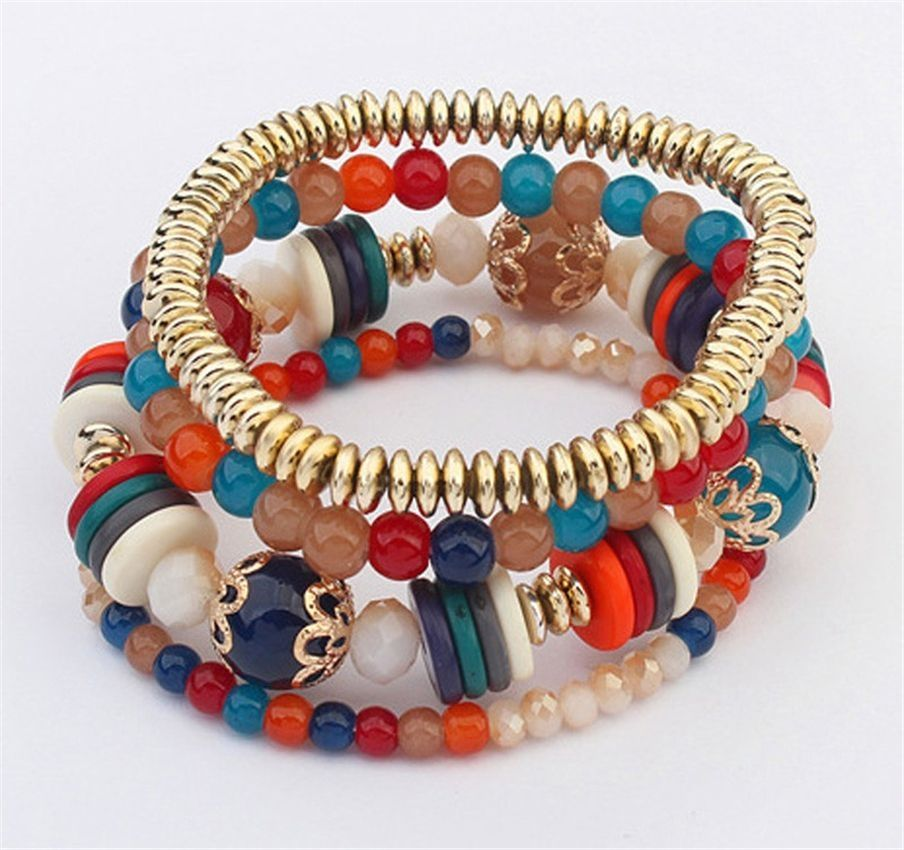 Neworldline Women Multilayer Beads Bangle Bracelets -Colorful