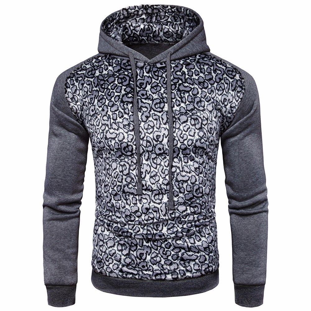 832ec0edd Generic Men Leopard Coat Jacket Sweater Swearshirt Hoodie Long Sleeve  Outwear