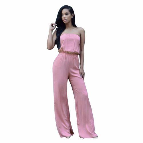 ecfac44161b Fashion Women s Strapless Wide Leg Jumpsuit Romper Pants Pink ...