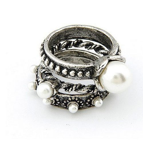 Neworldline New Fashion Retro Bronze Gold Pearl Weave Textured Set Of Three Rings-Silver