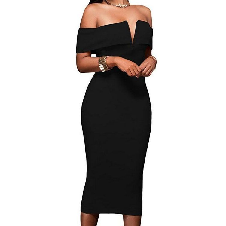 8caacac568a42 Generic Women's Sexy V Neck Off The Shoulder Evening Bodycon Club ...