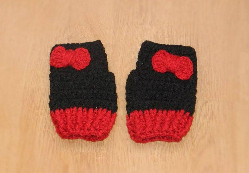 Babybee Crochet Mouse Gloves - Black   Red  681524b79933