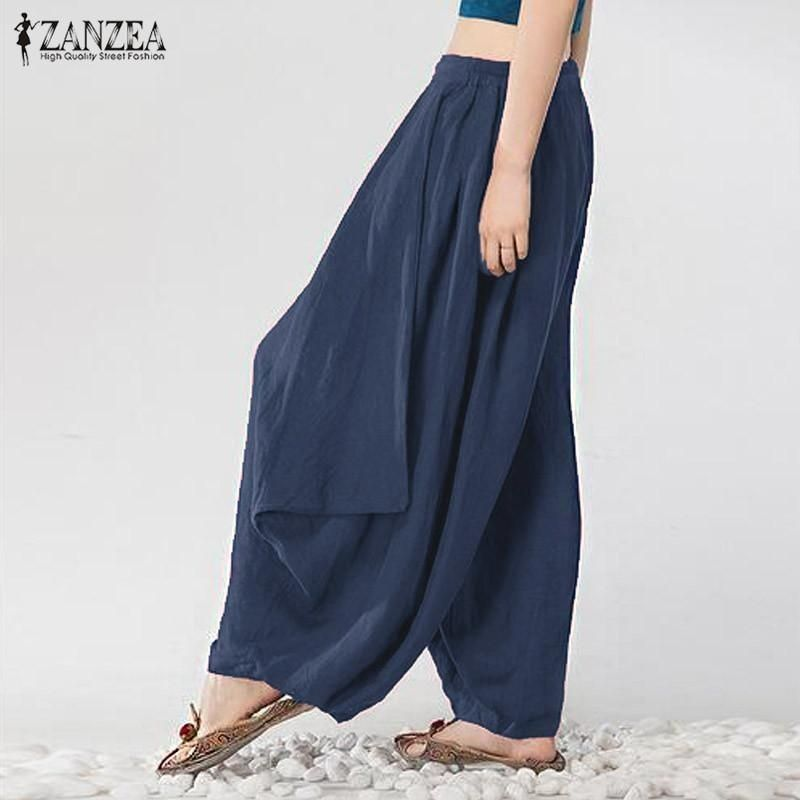 ZANZEA ZANZEAS 3XL Women Mid Waisted Casual Loose Long Long Trousers Summer Ladies Wide Leg Party Club Harem Pants Plus Size (Navy)