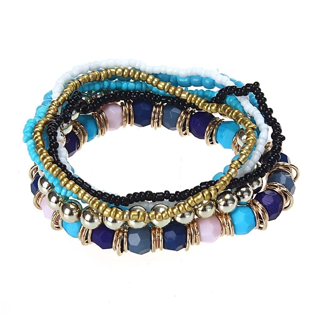 Neworldline 7PCS/Set Women Multilayer Acrylic Beads Bangle Bracelets Beach-Blue