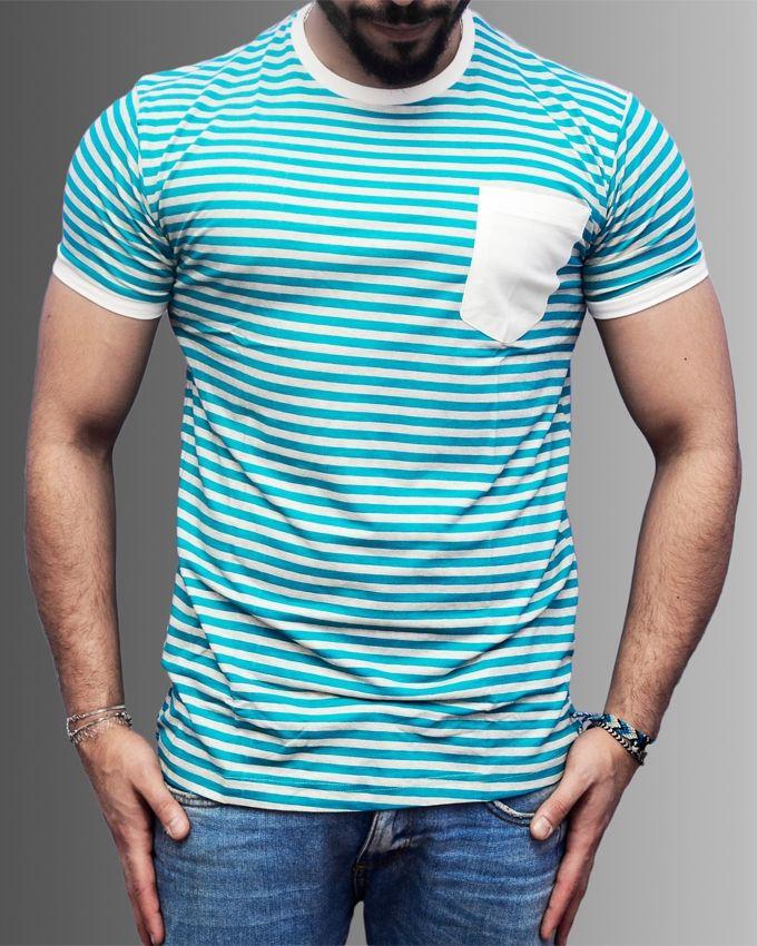 Marley Striped T-Shirt - Light Green & Grey