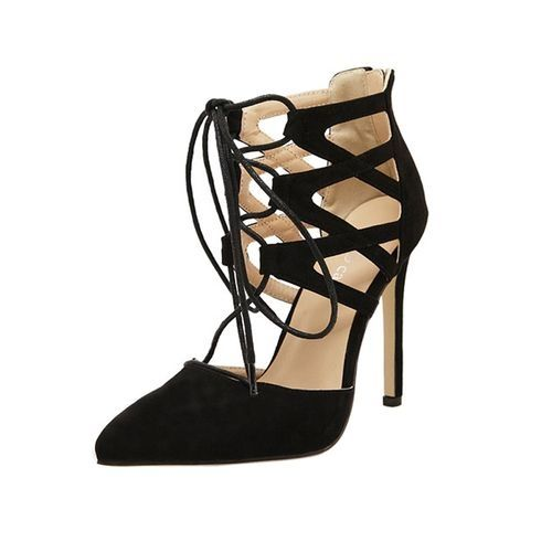 043359da91c Fashion Bliccol High Heel Shoes Women Ladies High Block Heels Ankle Strappy  Lace-UP Sandals Party Sandals Shoes-Black