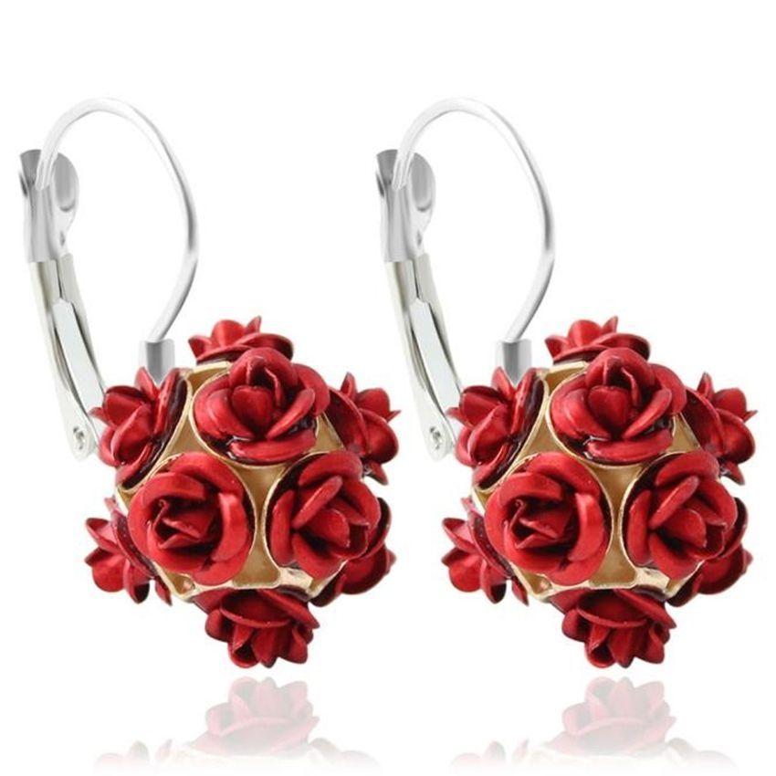 Neworldline New  Fashion Flower Rose Women Girls Crystal Stud Earrings Gift RD-Red
