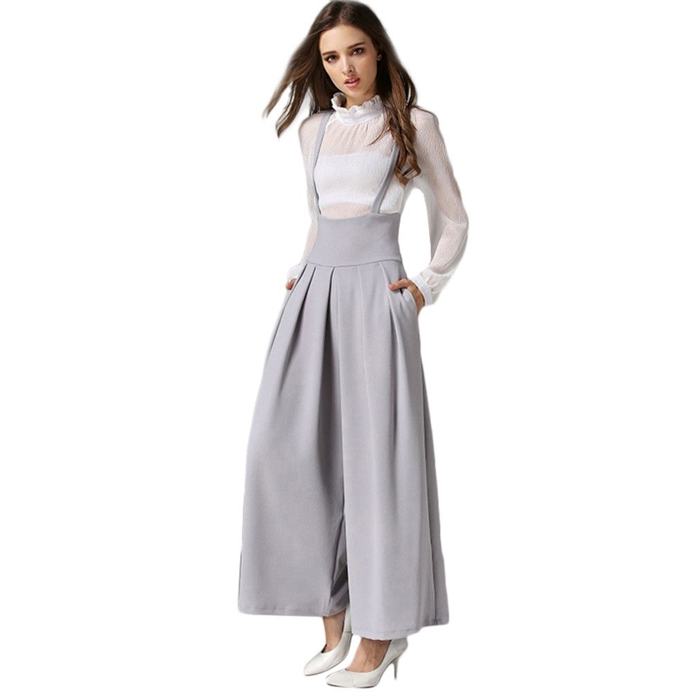 bb3166445 Generic Generic Women Casual Pleated High Waisted Wide Leg Palazzo Pants  Suspenders Trousers A1