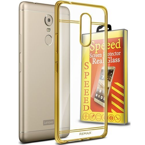 Speeed Glowing Silicone Cover For Lenovo K6 Note - Clear\Gold +