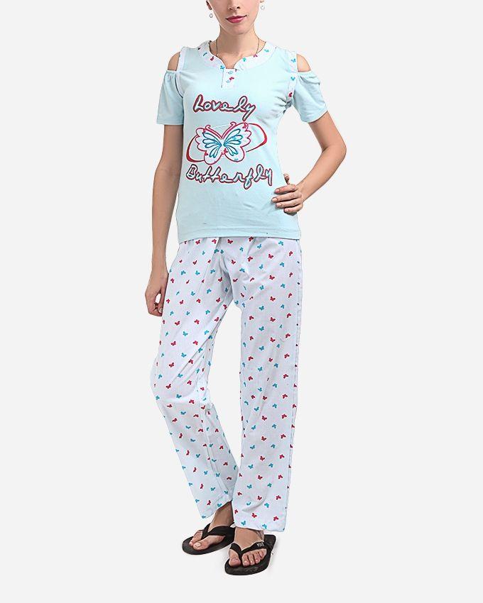 """Andora """"Lovely Butterfly"""" Pajamas Pants - Blue Sky"""