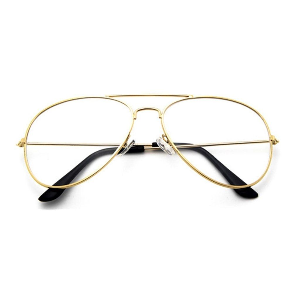 e58ea1ee34 Fashion Women Men Big Round Metal Frame Clear Lens Retro Geek Glasses  Eyeglasses Eyewear Gold