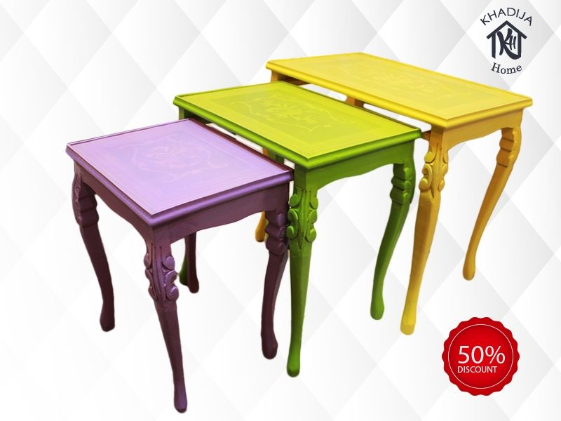Generic Beech Wood Multicolor Nesting Table Set 3 Pcs Price In