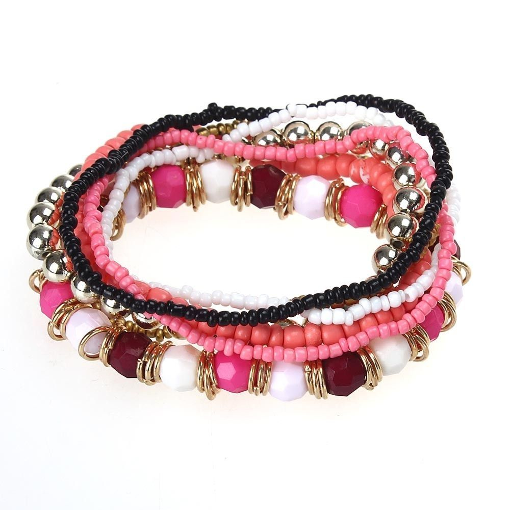 Neworldline 7PCS/Set Women Multilayer Acrylic Beads Bangle Bracelets Beach -Red