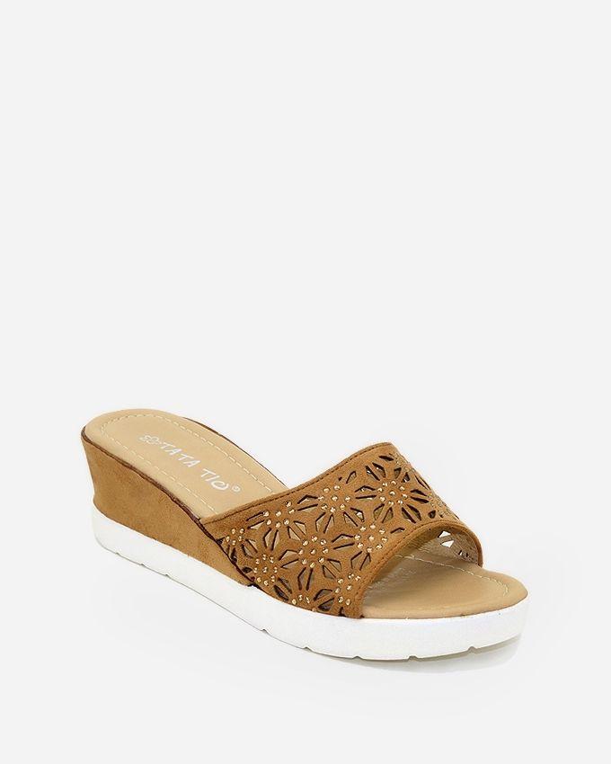 Tata Tio Cut Outs Flip Flops - Camel