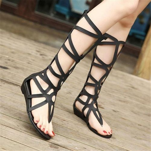 5fdc3d570919 Fashion Sexy Women Strappy Open Toe Zipper Knee High Gladiator Sandals  Boots Flat Shoes Black - Intl