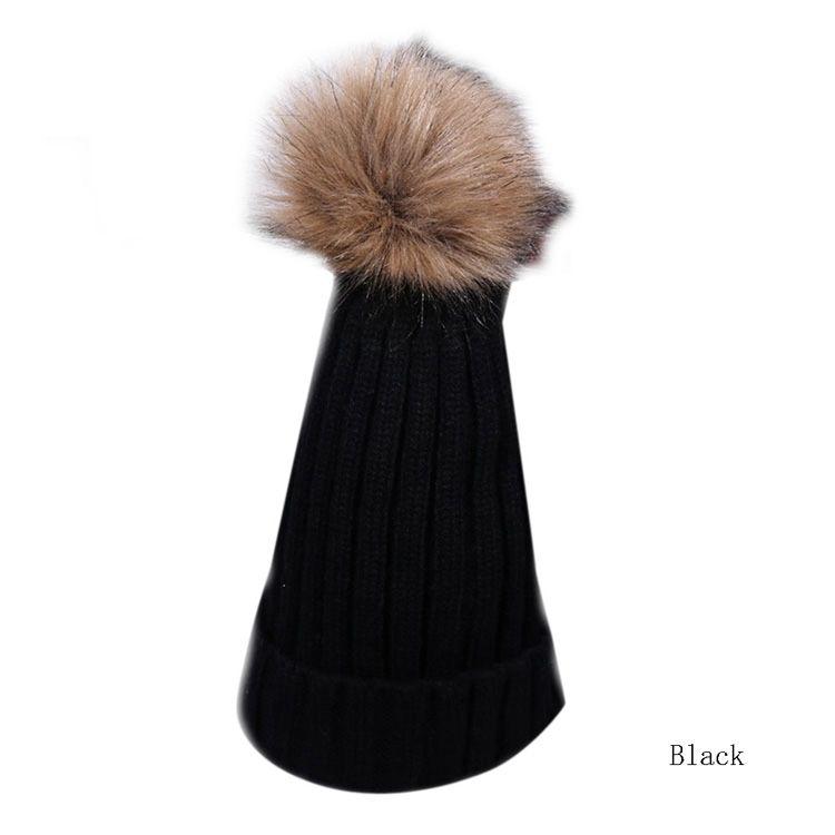 b0f83ee8dc4 Buy Fashion Women Winter Warm Fur Knitted Ski Pom Bobble Baggy Crochet Beanie  Cap Hat in