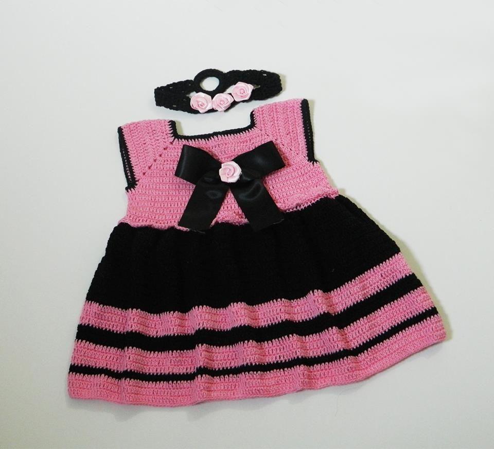 Babybee Handmade Crochet Roses Baby Dress -Cotton Mercerized - Black   Rose 609f5729a0bb