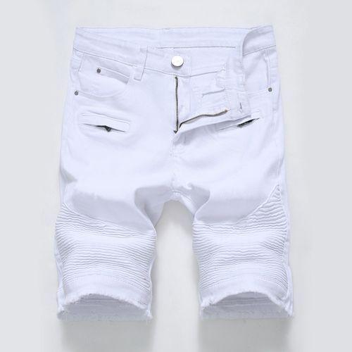6586e3b2f0ce Yingwoo Loose Fit Hot Sale 06 Men Short Jeans Robin Pants Denim Male Ripped  Hole Mature Casual Fashion Trousers Biker Classic-white