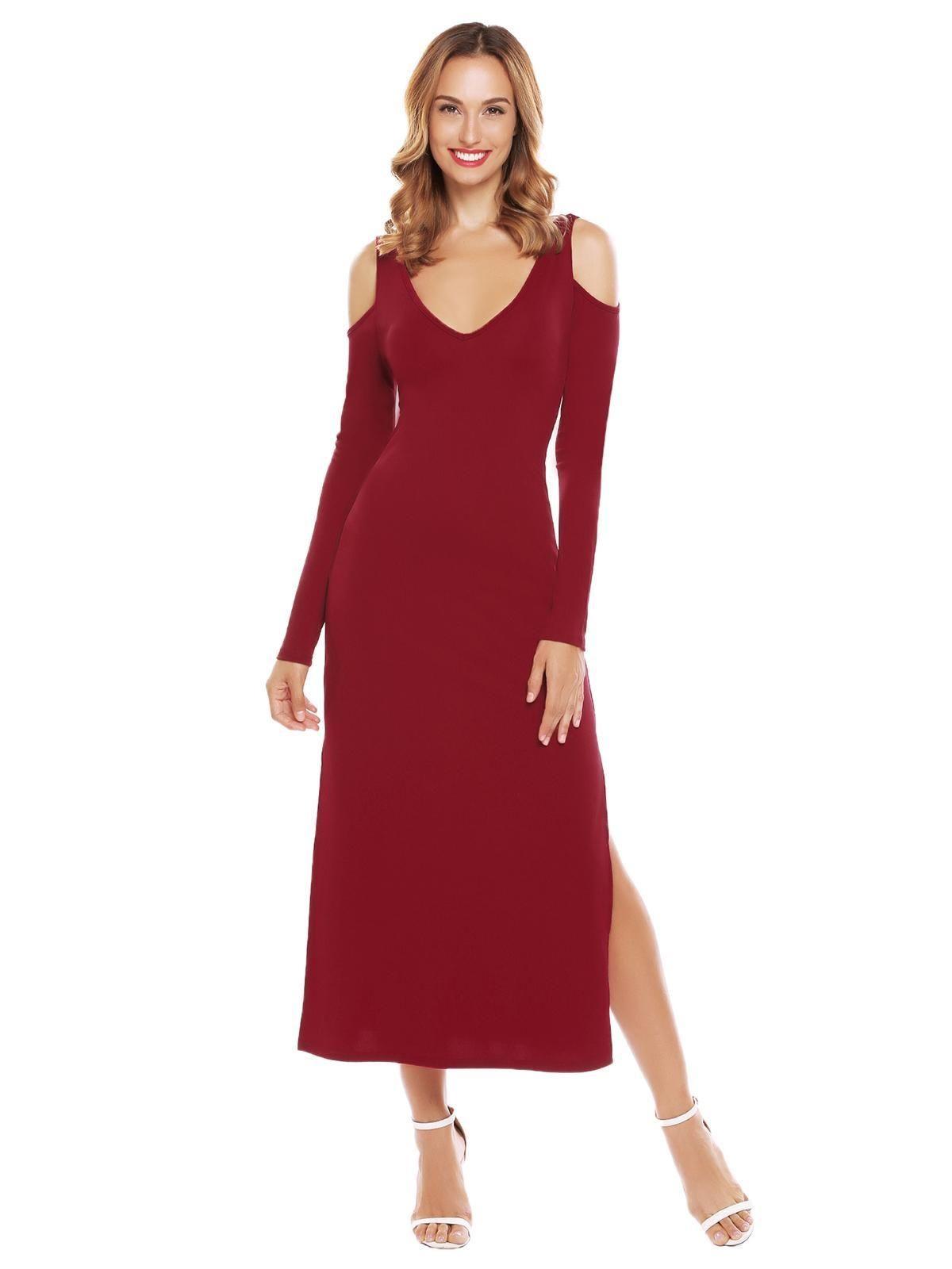 c97add85d4 Sunshine Women Cold Shoulder V-Neck Long Sleeve V Back Sides Split Solid  Party Maxi Dress-Wine Red