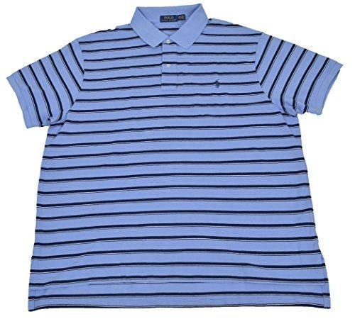 US Polo Ralph Lauren Mens Big Mesh Rugby Blue White Polo Shirt 2XB