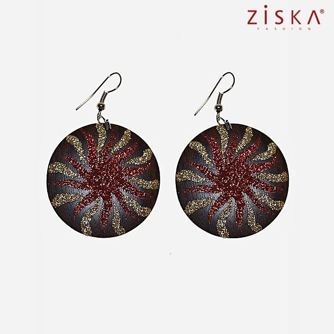ZISKA Wooden Earrings - Brown & Red