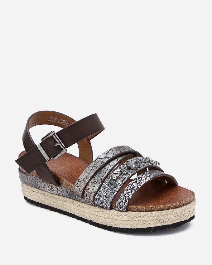 Spring Leather Sandals - Dark Grey