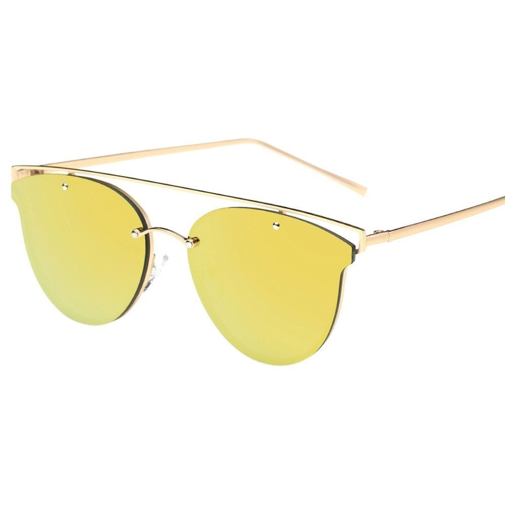 bc4e2eb10cd Duoya Femmes Fashion Cat Eye SunDes Lunettes Metal Frame SunDes Lunettes  Brand Classic Tone Mirror SunDes Lunettes-Yellow. updating Prices