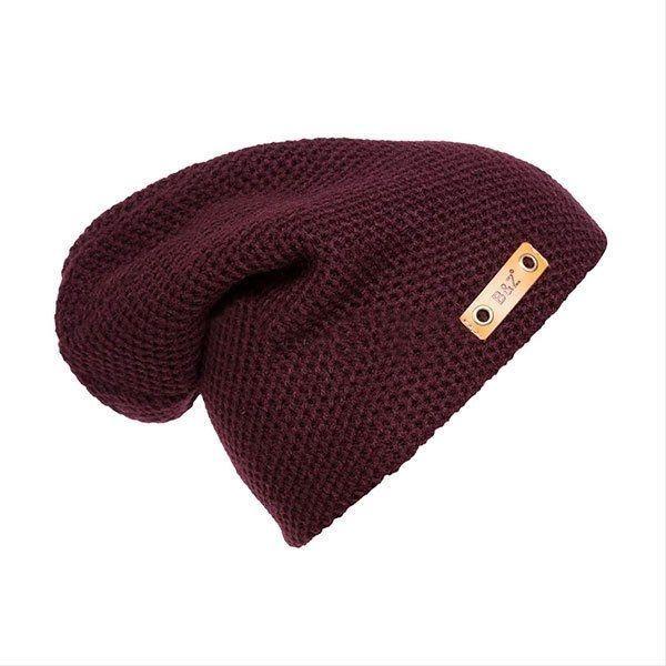 3ad6a127c27 Sunshine Warm Crochet Knit Baggy Beanie Hat Unisex Slouchy Cap (Wine ...