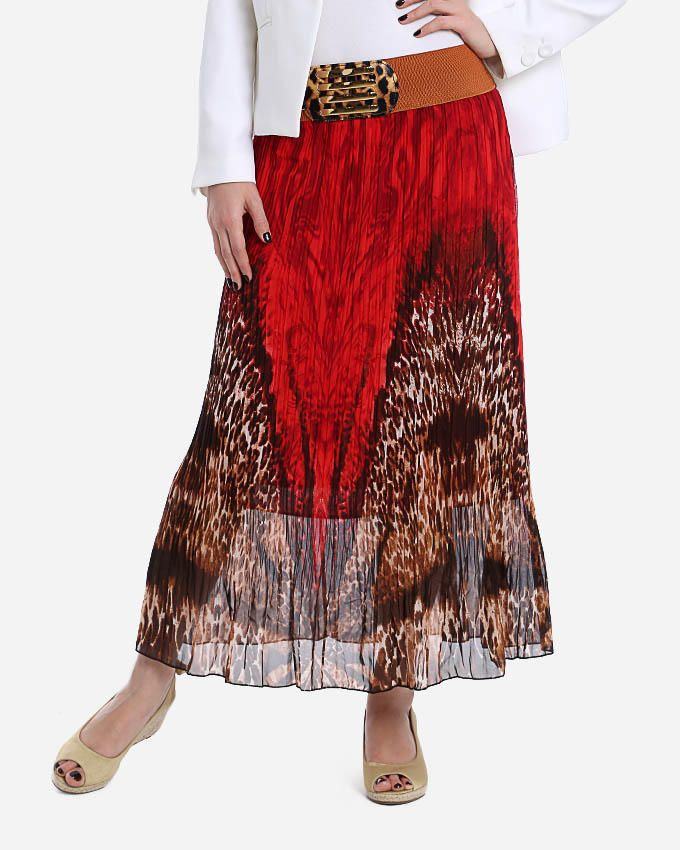 Andora Abstract Long Skirt - Dark Red