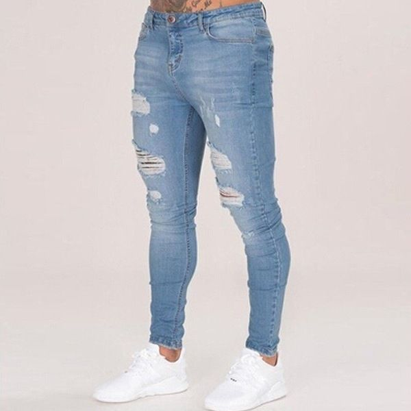 dd8275bd4e2 Generic Men s Skinny Jeans Washed Men s Tight Knee Hole Pants Thin ...