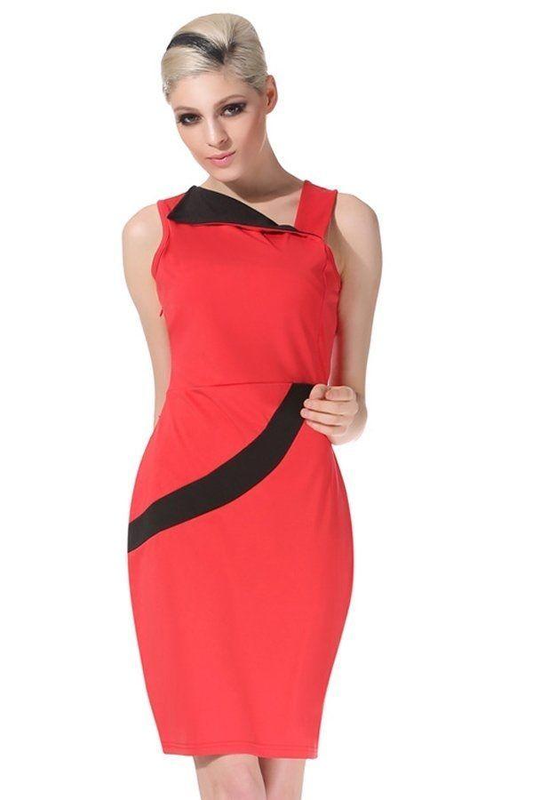 f88a42f25df4 Sunweb Angvns Stylish Lady Fashion Sleeveless Irregular Neck Sexy Slim  Casual Dress (Red)
