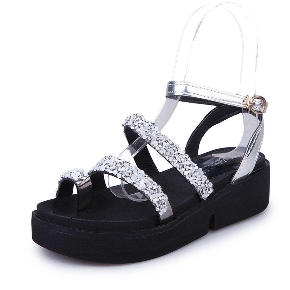 da3632dab8898b Neworldline Women Gladiator Flat Rhinestone Sandals Summer Shoes ...