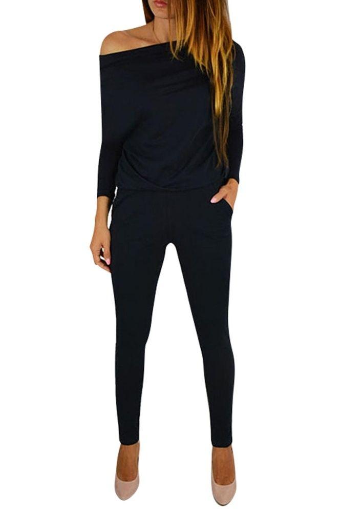 d6715779bb7 Buy Fashion Fashion Women Black Round Neck Long Sleeves Off Shoulder Side  Pocket Elastic Waist Jumpsuits