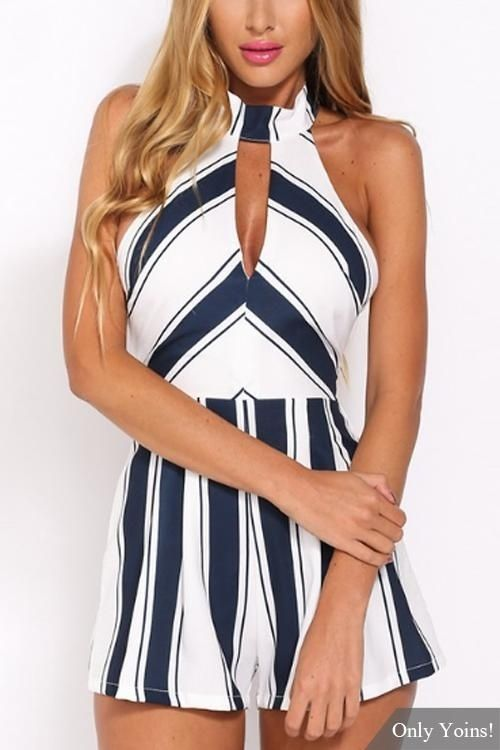 e3788dcce3 Fashion YOINS New Arrival Women Fashion Stripe Pattern Sleeveless Romper  Overalls Halter Neck Playsuit With Zip Back Fastening
