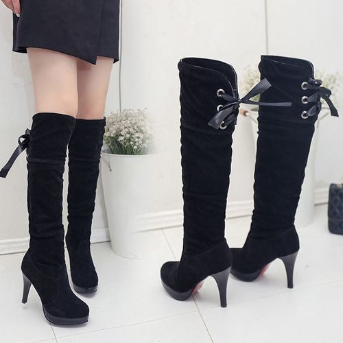 b0678bd0c2 Buy Generic Women's Vogue Boots Comfortable Flock High-Heel Thigh High  Boots in Egypt