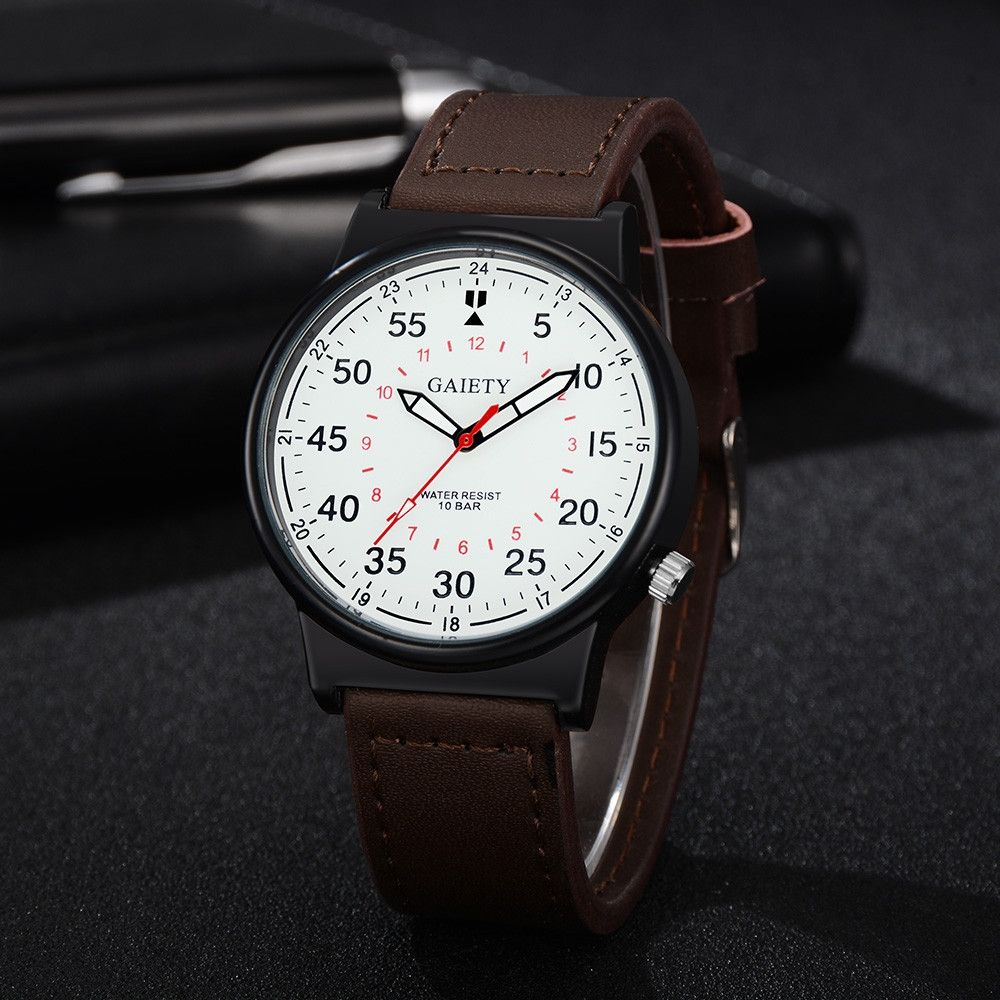 Universal Watch Men Business Fashion Leather Band Analog Quartz Round Wrist Watch Watches Brown-Brown