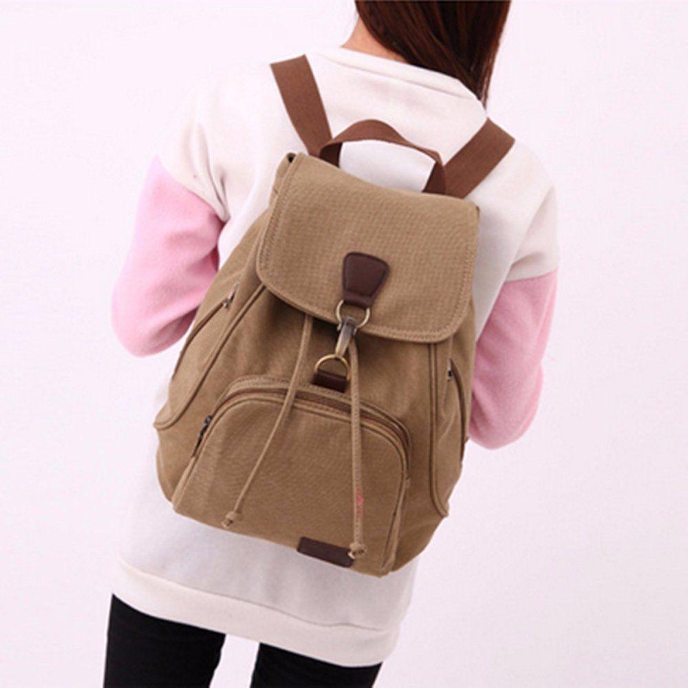 Fashion Women Men Canvas Travel Satchel Shoulder Bag Backpack School  Rucksack Outdoor Khaki 5fc9eee8ac